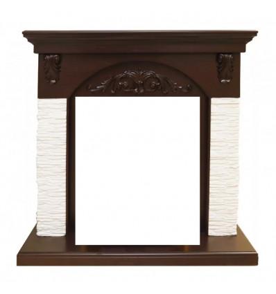 Классический портал для камина Royal Flame Chester сланец мелкий белый под очаг Vision 18 LED FX Темный дуб
