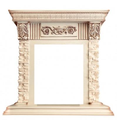 Классический портал для камина Royal Flame Luxemburg сланец бежевый под классический очаг Слоновая кость с патиной