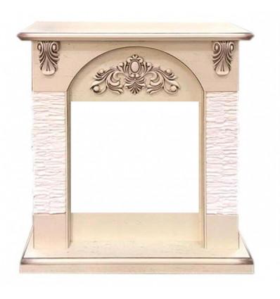 Классический портал для камина Royal Flame Chester сланец мелкий белый под очаг Vision 18 LED FX Cлоновая кость с патиной