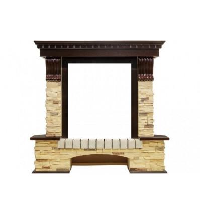 Классический портал для камина Royal Flame Pierre Luxe сланец под классический очаг (Темный дуб)