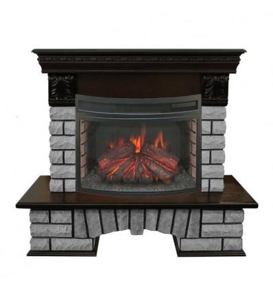 Электрокамин с широким очагом 2D Real-Flame Country LUX Rock 25 с очагом Firefield 25 S IR