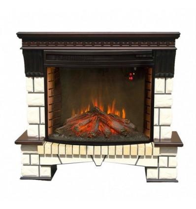 Электрокамин с широким очагом 2D Real-Flame Stone new 33 с очагом Firespace 33 S IR
