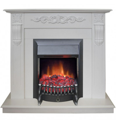 Электрический камин с эффектом живого огня Real-Flame Dominica STD/EUG WT с очагом Fobos s Lux BL/BR, Majestic s Lux BL/BR