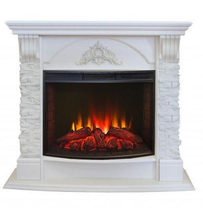 Камин белый электрический Real-Flame Athena 25/25,5 WT с очагом Evrika 25,5 LED