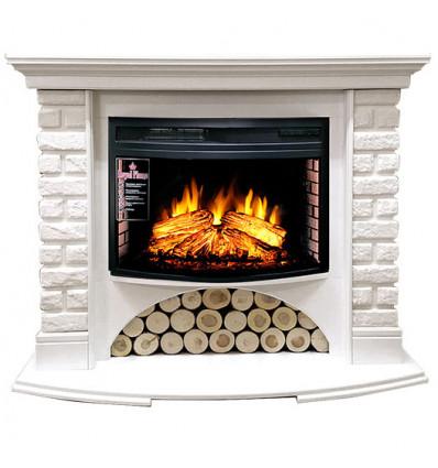 Электрокамин с широким очагом 2D Royal Flame Village кирпич белый с очагом Dioramic 25 FX