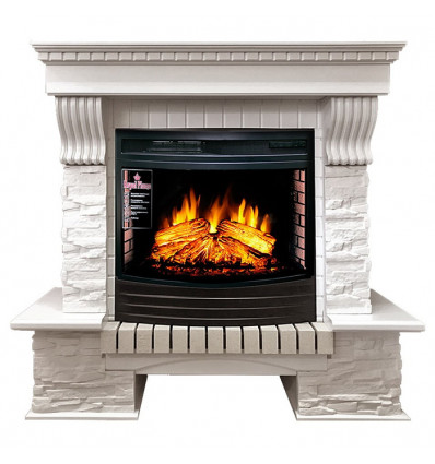 Электрокамин с широким очагом 2D Royal Flame Pierre Luxe сланец белый с очагом Dioramic 25 FX