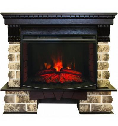 Электрокамин с широким очагом 2D Real-Flame Kansas 33 AO с очагом Firespace 33W S IR