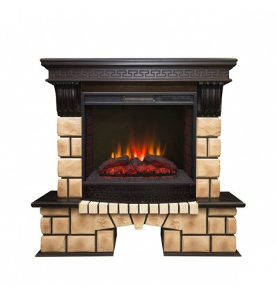 Электрокамин с широким очагом 2D Real-Flame Stone Brick 25/25,5 с очагом Sparta 25,5 LED