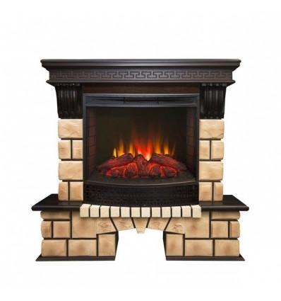 Электрокамин с широким очагом 2D Real-Flame Stone Brick 25/25,5 с очагом Evrika 25,5 LED