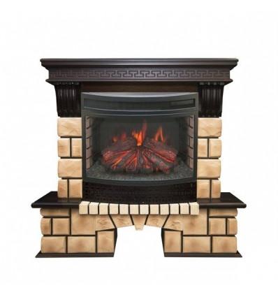 Электрокамин с широким очагом 2D Real-Flame Stone Brick 25/25,5 с очагом Firefield 25 S IR