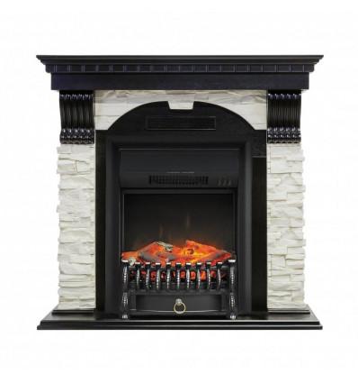 Электрокамин с классическим очагом 2D Royal Flame Dublin арочный сланец белый с очагом Fobos (Венге)
