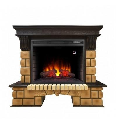 Электрокамин с широким очагом 2D Real-Flame Stone Brick 26 с очагом Epsilon 26 S IR