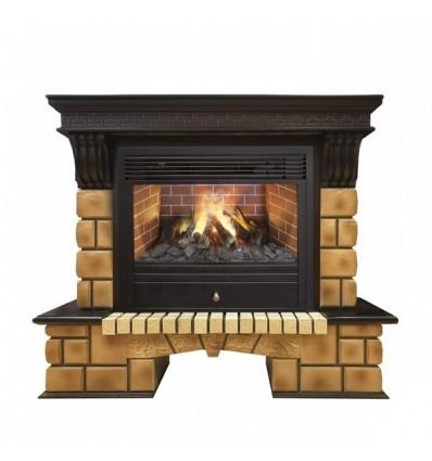 Электрокамин с широким очагом 3D Real-Flame Stone Brick 26 с очагом 3D Novara