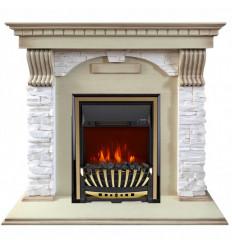 Электрокамин с классическим очагом 2D Royal Flame Dublin арочный сланец крем слоновая кость с очагом Aspen Gold