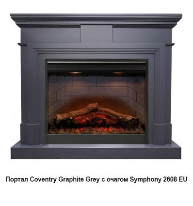 Электрокамин с широким очагом 2D Royal Flame Coventry Graphite Grey с очагом Symphony 2608 EU/ 2624-L