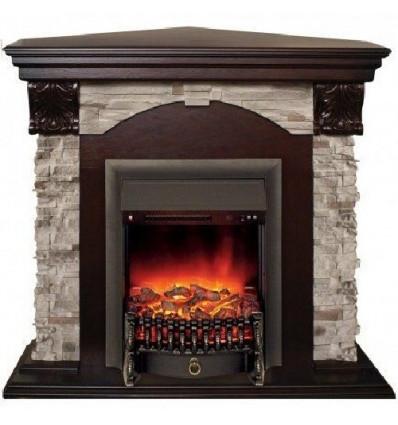 Камин угловой для дома электрический Real-Flame Dublin ROCK Corner STD/EUG 24 AO с очагом Fobos s Lux BL/BR, Majestic s Lux BL/B