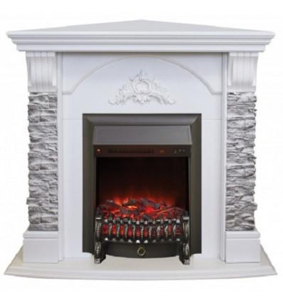 Угловой электрокамин с эффектом живого огня Real-Flame Athena Corner GR STD/EUG/24 WT с очагом Fobos s Lux BL/BR, Majestic s Lux