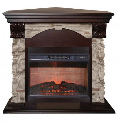 Элегантный камин для дома электрический Real-Flame Dublin ROCK Corner STD/EUG/24 AO с очагом Irvine 24