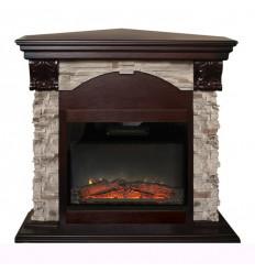 Камин угловой электрический с эффектом пламени 3D Real-Flame Dublin ROCK Corner STD/EUG/24 AO с очагом Kendal 24