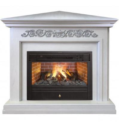 Камин угловой электрический с эффектом пламени 3D Real-Flame Leticia Corner 26 WT с очагом 3D Novara
