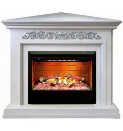 Стильный угловой электрокамин с 3D эффектом пламени Real-Flame Leticia Corner 26 WT с очагом 3D Helios 26