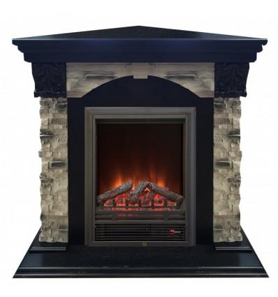 Угловой электрокамин с эффектом живого огня Real-Flame Dublin ROCK Corner STD/EUG 24 AO с очагом Eugene