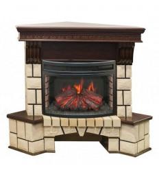 Электрокамин с широким очагом 2D Real-Flame Stone Corner new 25 с очагом Firefield 25 S IR
