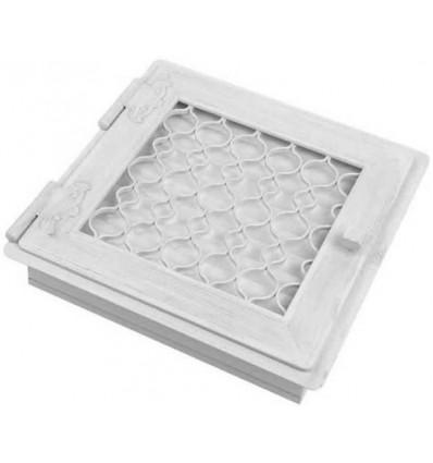 Вентиляционная решетка для камина Kratki Ретро белая с одной дверкой открывающейся 22х22 RETRO1/22/B/A