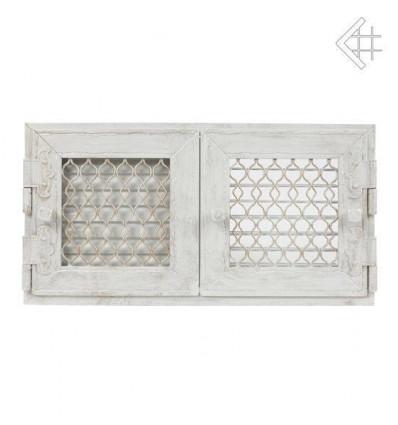 Вентиляционная решетка для камина Kratki Ретро белая с двумя дверками открывающаяся 17х17 RETRO2/17/B/A