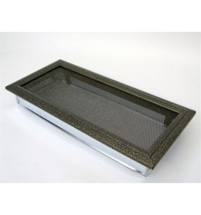 Вентиляционная решетка для камина Kratki 17х37 Оскар черная/латунь 37OCZ