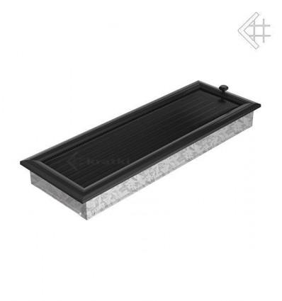 Вентиляционная решетка для камина Kratki 17х49 оскар черная с жалюзи 49OCX